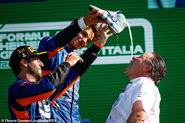 He also gave a shoey to McLaren CEO and former professional racing driver Zak Brown, who also took the drink out of Ricciardo's shoe
