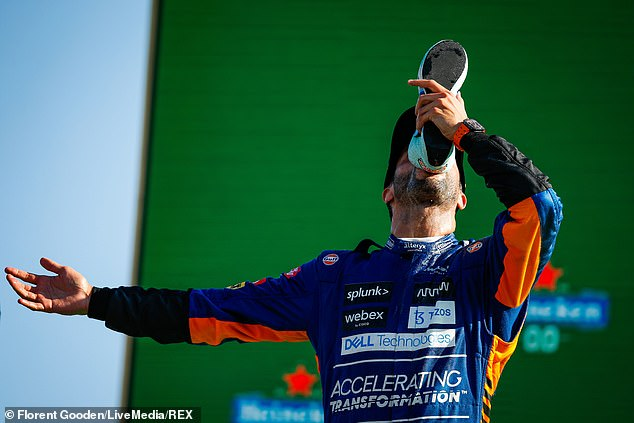 Danniel Ricciardo celebrated his first Formula 1 victory since 2018 in typical style, doing a shoey on the podium in front of tens of thousands of racing fans