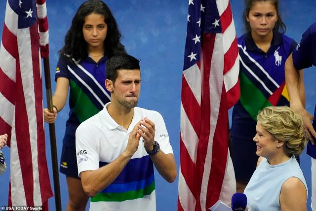 On the brink of history the emotions and nerves got to Djokovic, and he wept both in the final game and after the match