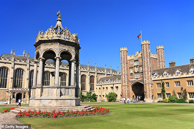 Covid restrictions have been scrapped but some lectures will still be delivered remotely. Pictured, Trinity College, Oxford