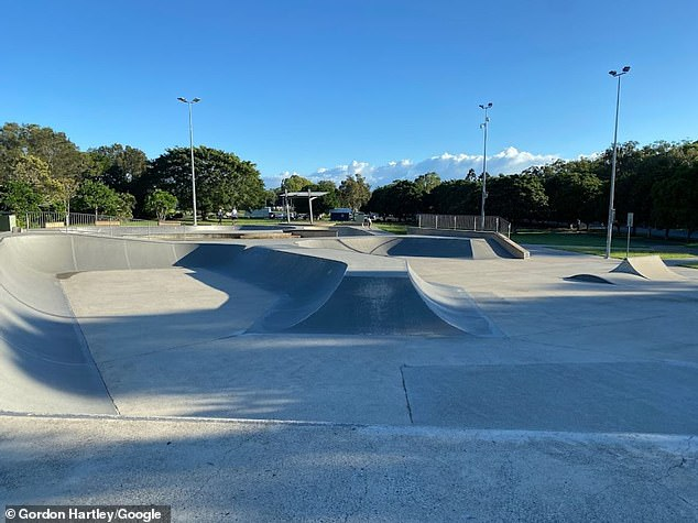 The Brazilian national was rushed to hospital after suffering a head injury at Pizzey Skatepark (pictured) in Miami