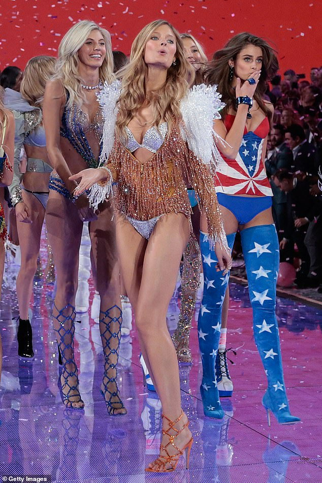 New world: Earlier in June, Victoria's Secret unveiled its plans for a major rebrand, including a line-up of 'diverse spokeswomen' instead of scantily clad models. Bridget and fellow models are pictured on the Victoria's Secret runway in 2015
