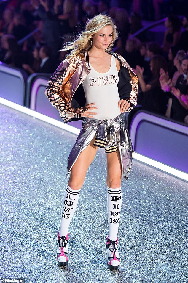 Slim: 'I once had one of the top photographers from Victoria's Secret say if you got skinnier you would become an Angel. And I thought great I am so close. But the reality was nothing was ever enough because it's the patriarchy, sorry,' she said. Pictured on the VS runway in 2016
