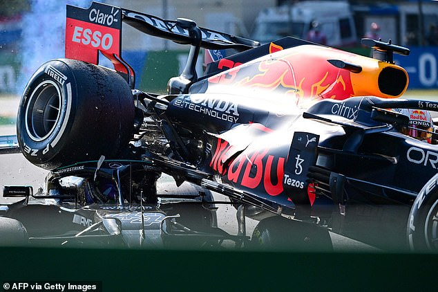 Hamilton was saved from serious injury by the protective Halo device on his Mercedes car