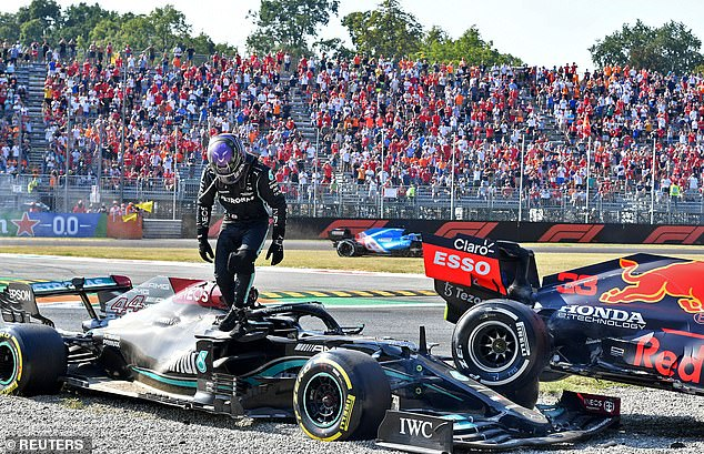 Hamilton emerged unscathed from his Mercedes a few minutes later at the Italian Grand Prix