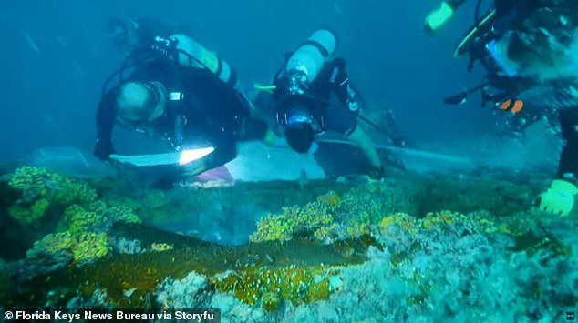 It was laid at the highest point of theUSNS Gen. Hoyt S. Vandenberg, 60 feet underwater