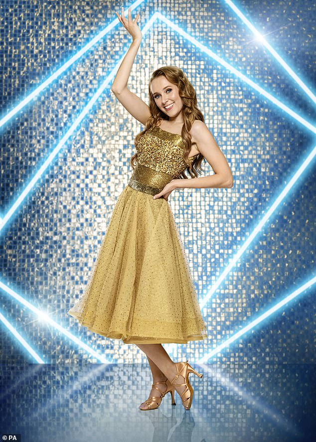 Wow! EastEnders star Rose Ayling-Ellis, 30, dazzled in a gold sequin tea dress posed for her professional Strictly Come Dancing photograph