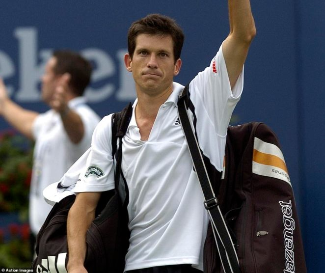 Former British number one Henman made the semi-finals of the US Open in 2004. He is pictured after that match in New York