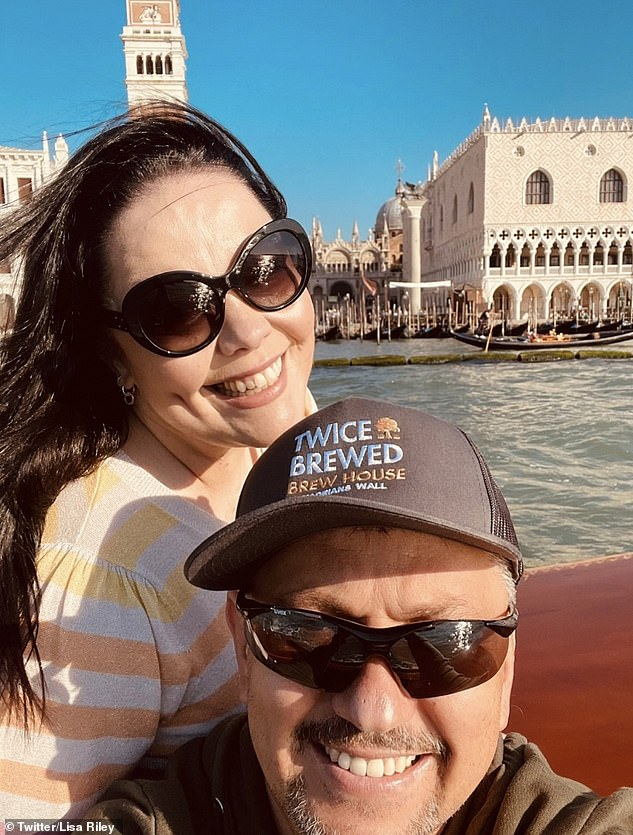 Smitten: The soap star looked the picture of happiness as she snapped selfies with her long-term partner during a gondola ride in Venice