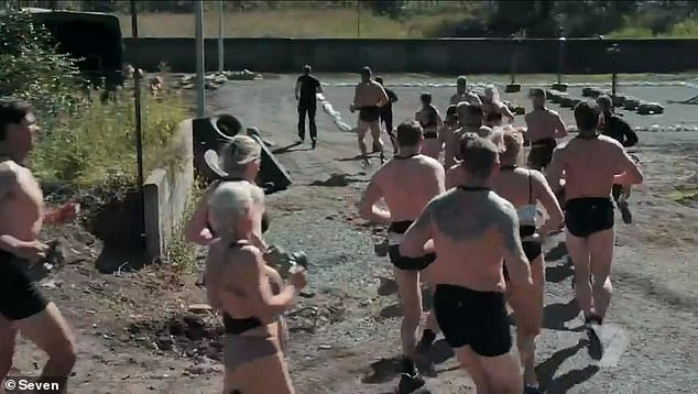 Guess who! An SAS Australia 2021 recruit displayed his elaborate back tattoos (pictured right) as an interrogation saw Chief Instructor Ant Middleton ordering them to STRIP DOWN during Monday's gritty premiere episode