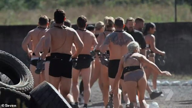 Oh dear:Just 20 minutes into the show, the star recruits were told to undress down to their undies before going completely nude during a very tense interrogation