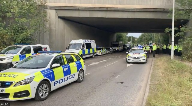Police turned up at the scene in Hertfordshire today after Insulate Britain caused chaos