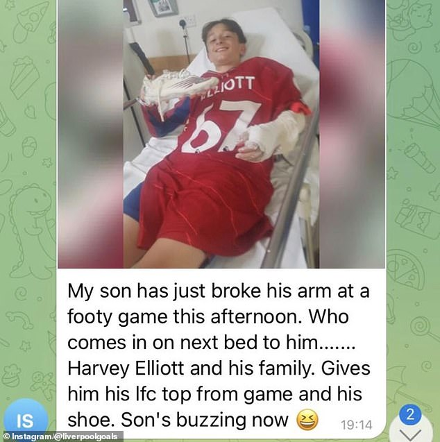 Harvey Elliott gifted his Liverpool match shirt and a worn boot to a young boy in hospital