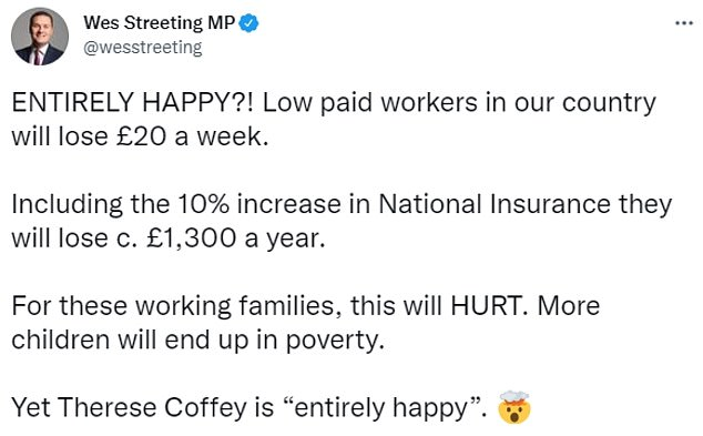 Shadow child poverty secretary Wes Streetingcondemned Ms Coffey's remarks
