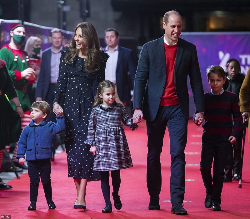 All the Cambridges, pictured together last Christmas, were in France for James andAlizee's big day over the weekend