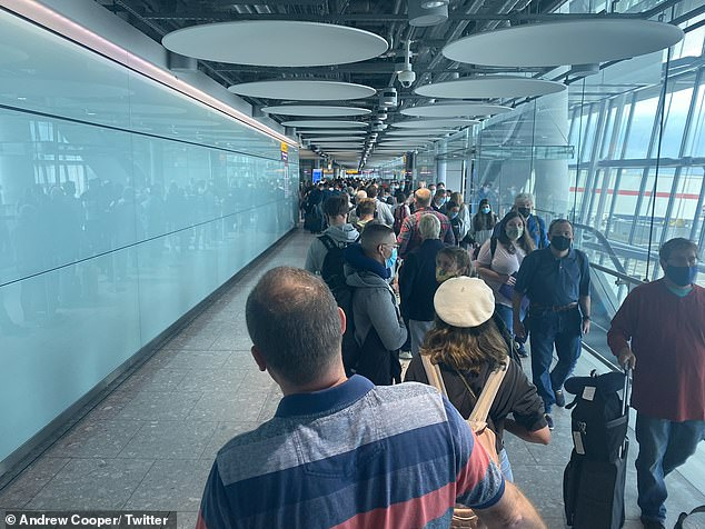 Twitter user Andrew Cooper took this photo at Heathrow Terminal 5, which has seen issues for weeks