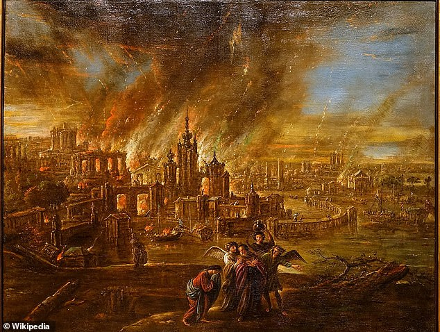 The eastern shores of the Dead Sea where the blood red pond is located also happens to be where the two legendary cities of Sodom and Gomorrah stood before they were supposedly destroyed by God for their 'wickedness (pictured:Sodom and Gomorrah afire, by Jacob Jacobsz)