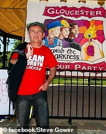 Steve Gower, 54, pictured in a 'Team Corbyn' T-shirt from Gloucester, was one of the protest's ringleaders