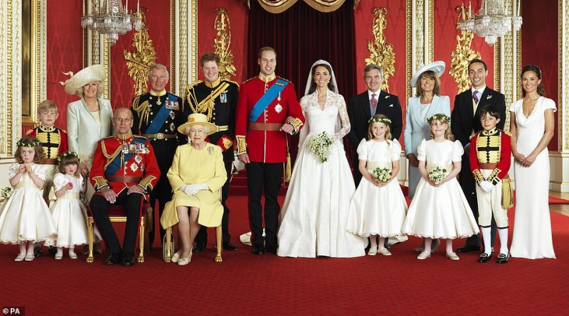James was watched by millions around the world as he delivered a reading from the Bible at Kate and Prince William's 2011 wedding. Pictured: James second right back row in 2011 during a photo call for the wedding of his sister Kate and Prince William
