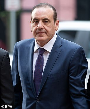 Former Wynn Resorts executive Gamal Abdelaziz, charged with paying bribes to fraudulently secure the admission of his daughter to the University of Southern California, arrives at John Joseph Moakley Federal Court House for the start of his trial in the college admissions scandal, in Boston Monday