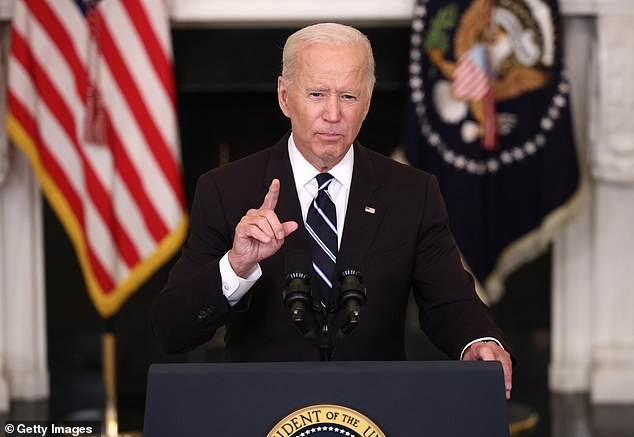 It comes after President Joe Biden announced a new series of mandates including a requirement that all medical employees get vaccinated last week (above)