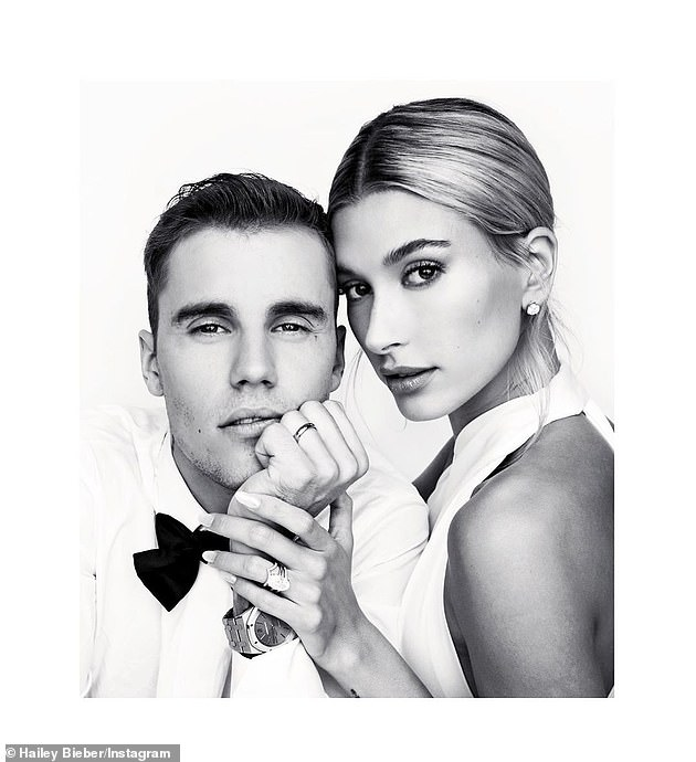 Mr. and Mrs.:Both Justin and his wife's jewelry could be seen in one of Hailey's pictures from the big day, with Hailey wearing both the Tiffany Soleste 18-carat gold diamond-encrusted band, which is valued at $3,125, and the $2,150 Tiffany Soleste 18-carat gold and diamond V-ring