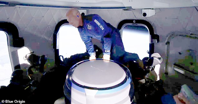 Blue Origin founder Bezos (pictured) made a similar journey 10 days later, when he, his brother Mark, and two others hiked 66 miles above Earth.
