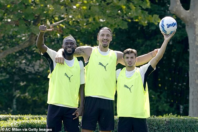 Tomori (left) opened up on how competitive Zlatan Ibrahimovic (centre) is - even in foot-golf