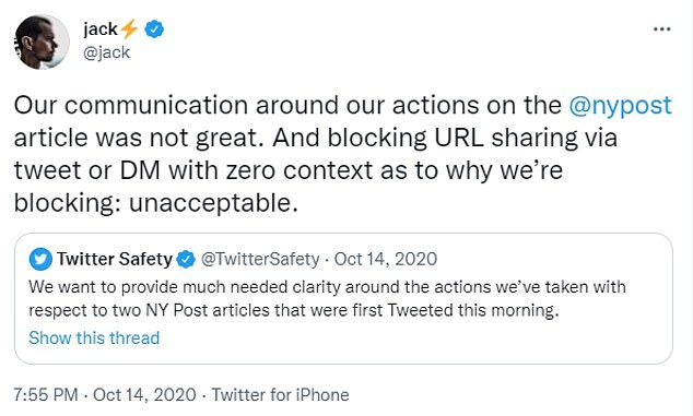 The same day the article was blocked, Dorsey went into damage control and conceded that blocking the article with no context or explanation was 'unacceptable'