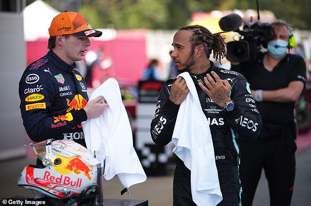 Verstappen (left) and Lewis Hamilton (right - seen in Spain in May) have a bitter rivalry brewing