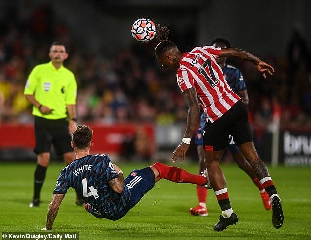 Toney (right) bullied the Arsenal defenders, including new £50m defender Ben White (left)