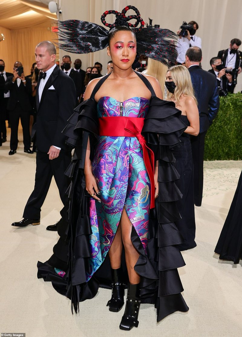Wacky: Tennis pro Naomi Osaka led the worst-dressed stars at this year's Met Gala, missing the mark completely in her bizarre multi-colored ensemble
