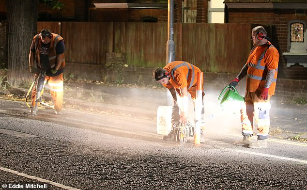 Builders began the removal process last night to get rid of the cycle lanes