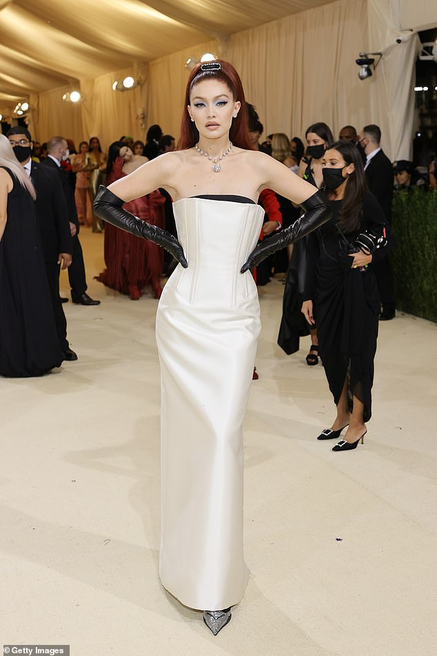 Model mayhem: Gigi Hadidmade her grand arrival to the star-studded 2021 Met Gala in New York City on Monday evening