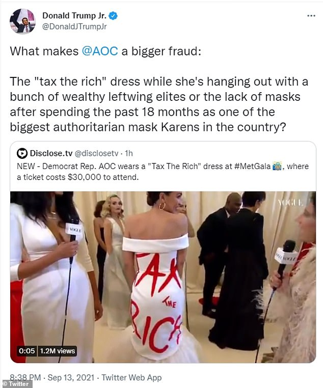 Donald Trump Jr was quick to highlight the irony behind the congresswoman's dress, calling her 'a fraud.'