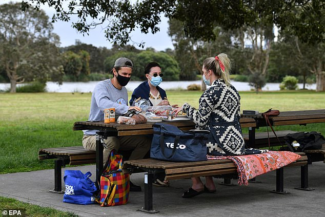NSW residents will enjoy new freedoms from September 13, with five fully-vaccinated adults permitted to gather outside for what has been dubbed a 'vax picnic' (pictured)