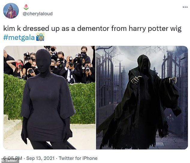 Good fun: Meanwhile, Kim was compared to a 'Dementor' from the Harry Potter series as many took to Twitter to post memes poking fun of her outfit at the gala event