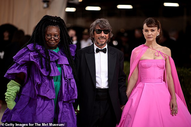 Designer worship: Goldberg and actress Carey Mulligan, who also wore Valentino, posed alongside Valentino designer Pier Paolo Piccioli