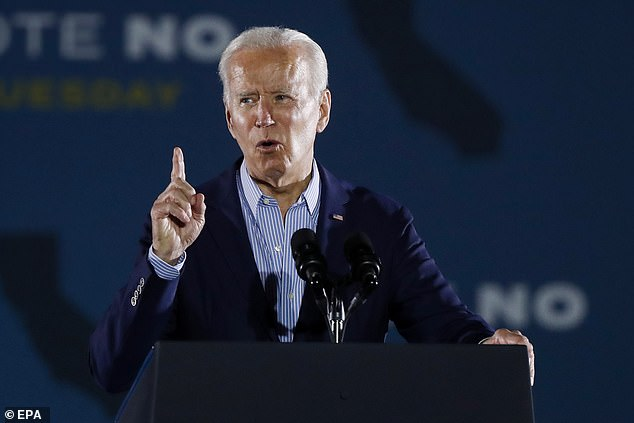 'You either keep Gavin Newsom as your governor or you get Donald Trump,' President Joe Biden warned at a Long Beach rally Monday night