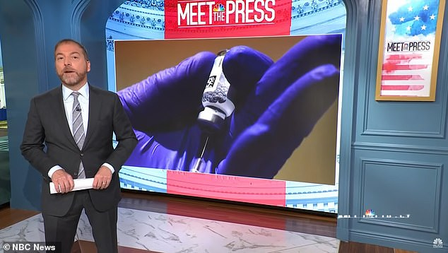 Chuck Todd (pictured) did not address the drone strike that a New York Times report claims killed ten civilians while Pentagon maintains 'was 'necessary to prevent an attack on American troops' on NBC's Meet the Press this Sunday