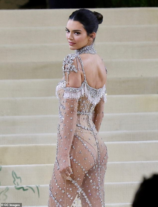 Intricate: Kendall's dress was adorned with intricate detail