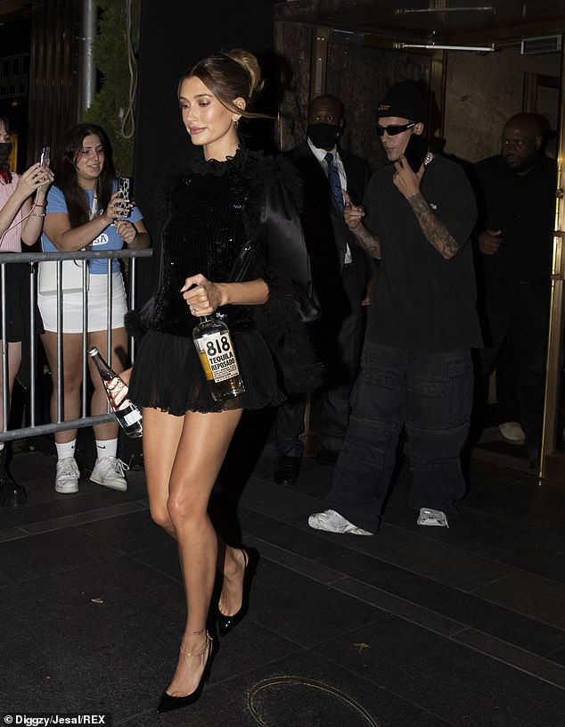 Bring your own...:. She joined married pals Hailey and Justin Bieber as they hit the event