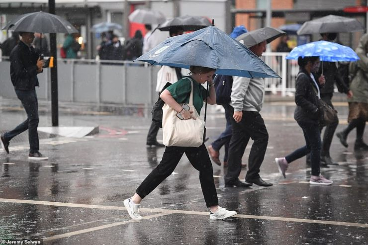 Road and transport networks saw delays in London after heavy downpours began before 6am. Pictured: London Victoria