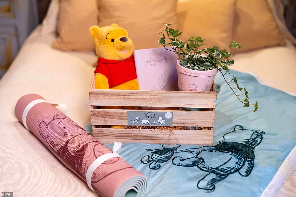 """Pictured are a selection of accessories in the Airbnb.Disney says: 'We hope guests are able to sit back and relax in the """"Bearbnb"""", and """"be more Pooh"""" for the day'"""