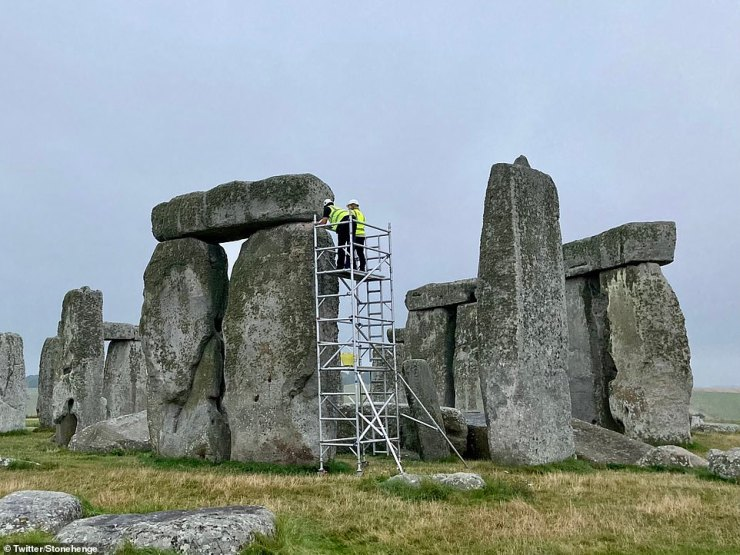 Scaffolding has been erected next to Stonehenge this morning as the ancient monument undergoes the first major repairs in more than six decades so cracks and holes in the stones can be refilled