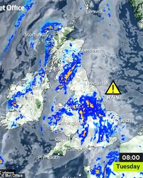 Rain is battering much of England this morning
