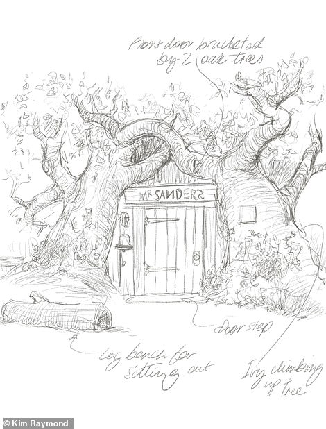 """'The """"Bearbnb"""" is a unique experience that brings the charm of Pooh to life for fans,' says Kim. Above is one of his sketches of the exterior"""