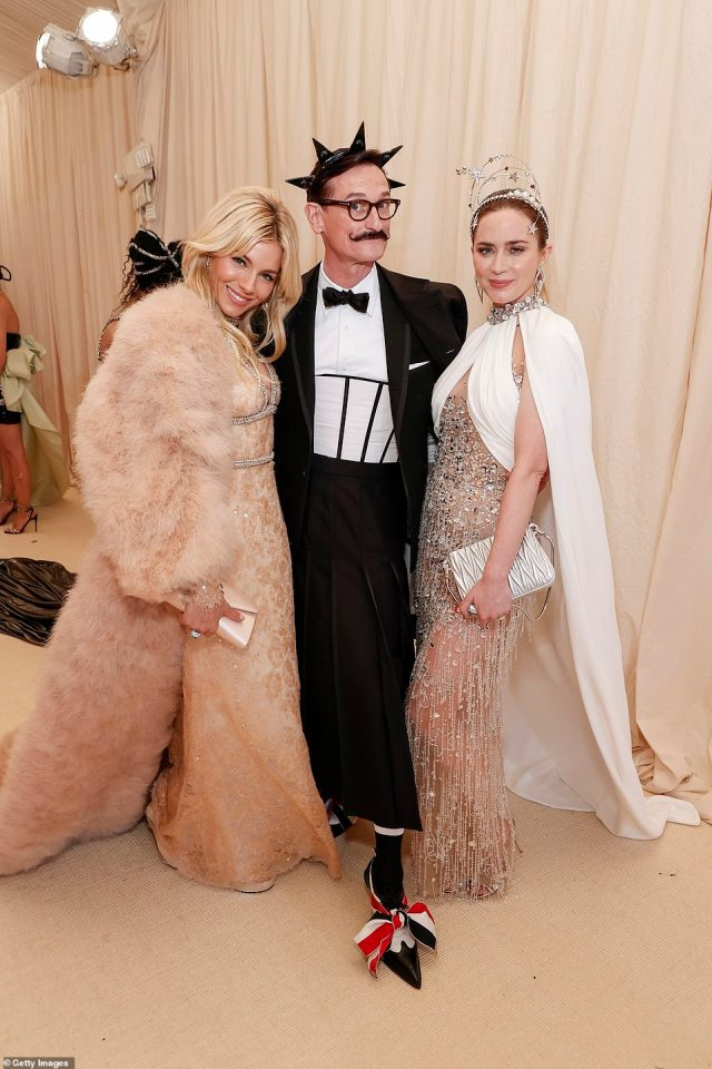 British stars Sienna Miller and Emily Blunt were joined on the red carpet byEuropean editor-at-large of American Vogue Hamish Bowles