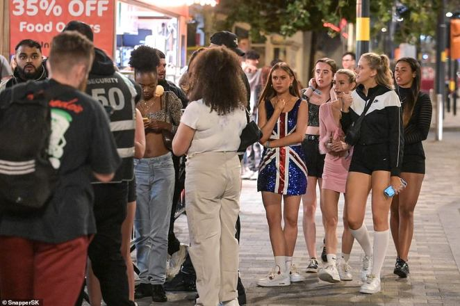 A group of students queue up outside a nightclub as they continue their Freshers' Week celebrations