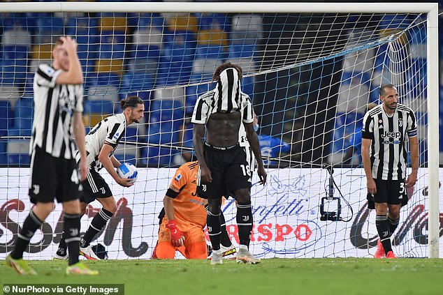 Juventus players react with dismay after losing late on against Napoli last Saturday